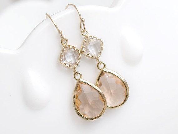 Peach model custom set peach earrings gift for her wedding
