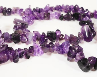 Amethyst Chip Beads 5x2mm to 10x5mm Small Purple Semiprecious Stone Gemstone Bead Chips for Jewelry Making on a Full 16 Inch Strand
