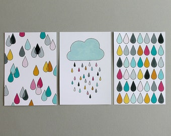 SALE! Raindrops Postcard - Set of 3
