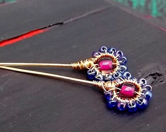 Beaded Floral Posy Handmade Headpin - Rainbow Blue Fuchsia Mauve - Boho Floral Finding - Glass Seed Bead - Gold Finish Wire - Pkg. 2