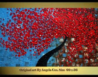 Original  Modern Red Blossom Tree  Impasto Textured  palette Knife landscape Red Flowers  Painting.  MADE2ORDER.