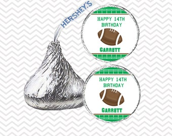 Football - Personalized Hershey Kiss Stickers, Hershey Kiss Labels, Birthday, Baby Shower
