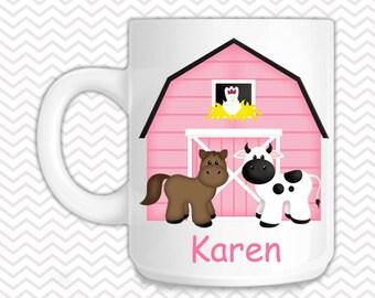 Barn Yard Pink Kids Mug - Personalized Barn Yard Mug - Customized Mug - Melamine Cup - Personalized Kids cup