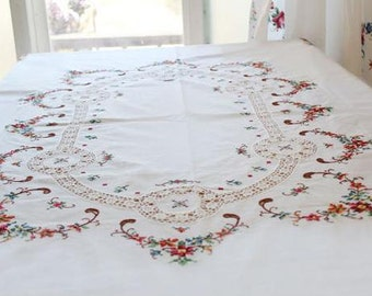 Cozymom Rose Flower Embroidery,Tablecloth,Linen tablecloth ,Housewares Decor,Table runner,tablemat 175x130cm