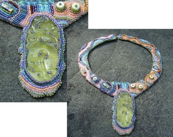 Beadwork Necklace, Carved Jade, Soft Colors