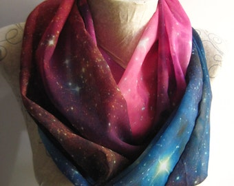 Galaxy Scarf Nebula Infinity Scarf Outer Space Universe Stars Astronomy Hipster Best Friend Gift for Girlfriend