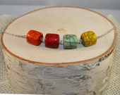 Multicolored Cylinder Necklace