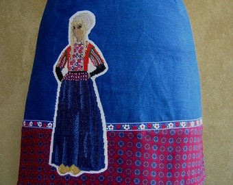 Folklore Embroidery Skirt, A-line skirt, applique skirt, girl from Marken, dots, flower trim, blue red, size Extra Small