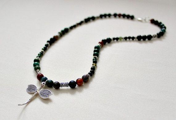 Bloodstone, Bali & Thai Sterling Silver Dragonfly Necklace,Healing Stone,Bloodstone Dragonfly,Stone Dragonfly Necklace,Mothers Day Gift