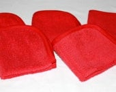 Terrycloth Washcloths Set of 5 - Spa Towels - Red Wash Cloths - Spa Face Cloths -