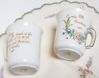Vintage Royal Albert Bone China Mugs, Birth of Prince William, Royal Family Collectible Mugs, Set of Two, Mint Condition
