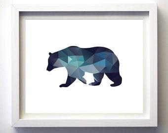 Teal Navy Blue Aqua Blue Wall Art Bear Print Minimalist Geometry Wall Art Decor Geometric Animals Bear Boys Nursery Art christmas gift