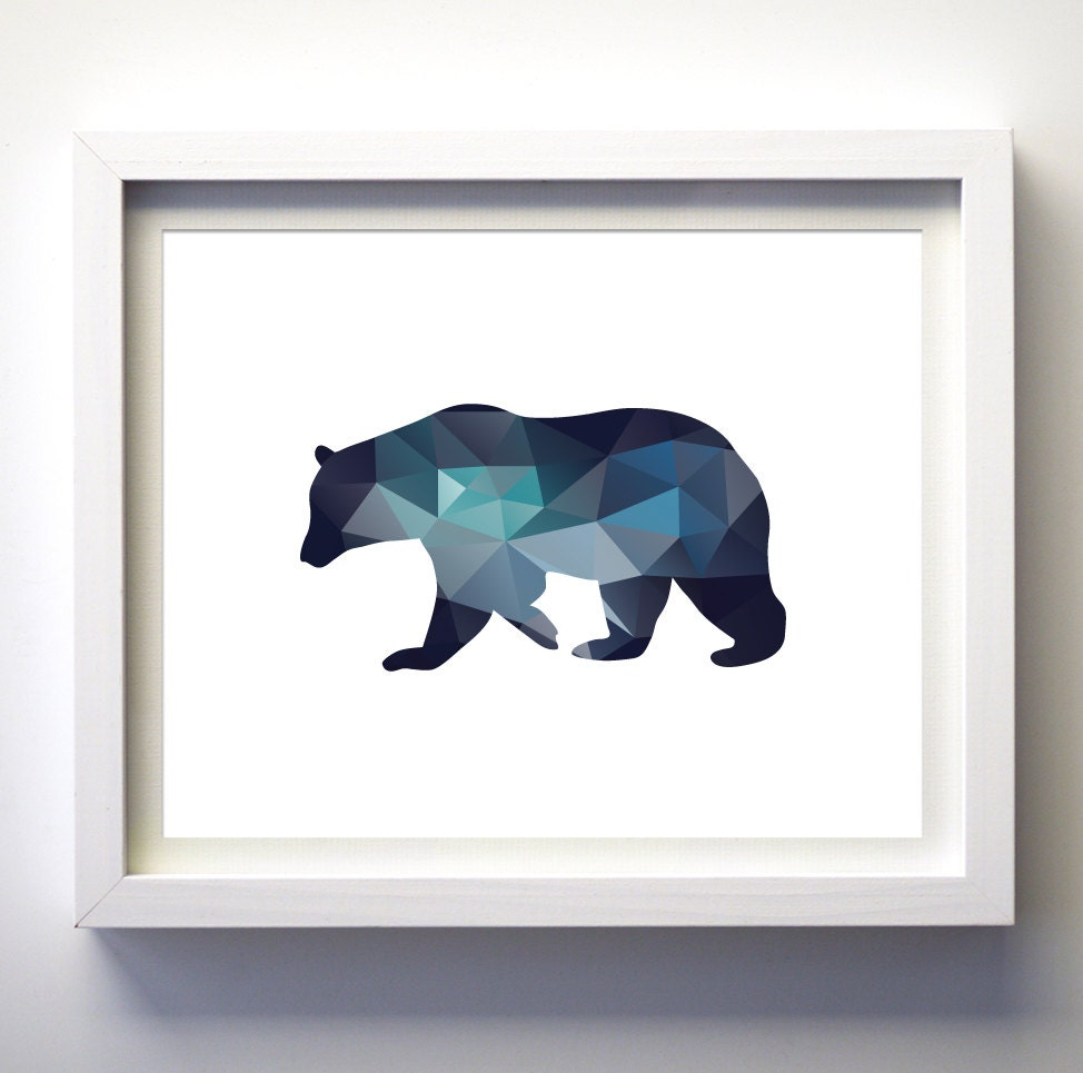 Teal Navy Blue Aqua Blue Wall Art Bear Print Minimalist