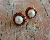 White Pearl Stud Earrings Copper and Sterling Silver Stud post Earrings