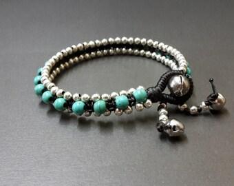 Turquoise Silver Bead Bracelet