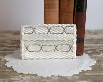 Vintage White Evening Bag beaded clutch small made in Japan