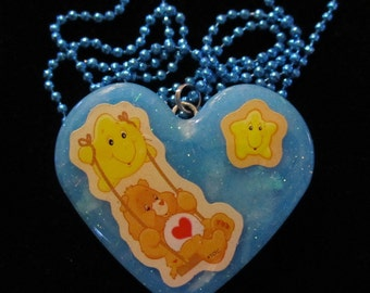 Bear Tenderheart Necklace-Handmade Blue Resin Heart Jewelry