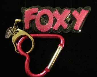 Foxy Keychain-Foxy Keyring-Pink Heart Carabiner-Black and Pink Holographic-Handmade Resin Jewelry