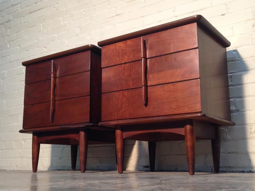 Mid Century Danish Modern Nightstand Pair End Tables By United Furniture Corp Wonderful