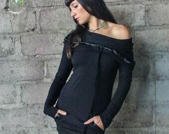 Black Tunic ~ Bamboo ~ Hooded Dress ~ Women Dress ~ Women Tunic ~  Black Dress ~ Bamboo clothing