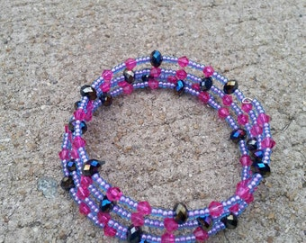 Sweet Dreams Pink And Purple Memory Wire Bracelet