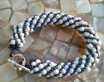 White and Slate Gray Russian Spiral Bracelet