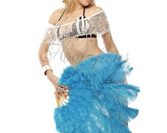 """24""""x 43""""  Turquoise  Marabou & Ostrich Feathers Hand Fan With Bamboo Staves"""