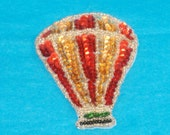 REDUCED Price - Vintage Gold and Red Sequin Hot Air Balloon Applique - Embellishment, Accent, Scrapbooking, Cardmaking Bling - Destash