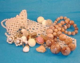 Half Pound Vintage Pearls, Broken Jewelry, Repurpose, Cream, White Costume Pearl Tie Jewelry