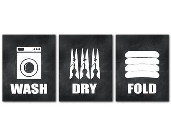 Laundry Room Art - Wall Art Trio - Wash Dry Fold - Room Decor - Washing Machine Clothes Pins Folded clothes