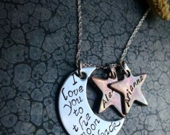Mother's Day Gift I Love You to the Moon and Back Personalized Moon and Stars Necklace Great Gift for Mom or Wife