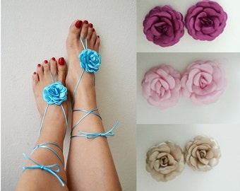 LUX Blue flower Beach wedding barefoot sandals, Toe thong Bottomless shoes, Foot jewelry,Wedding Shoes,bellydance barefoot sandal