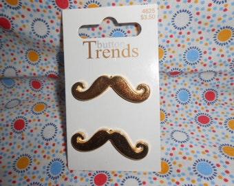 Mustache  Metal Buttons