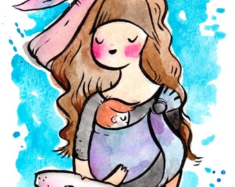 Mom and baby ring sling drawing, babywearing, 8.5x11 inch inkjet print watercolor painting