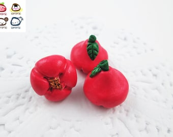 Miniature Rose Apple, rose apples, Ceramic Vegetables, ceramic fruits, food figurine, miniature food, mini vegetables, dollhouse, tiny, red