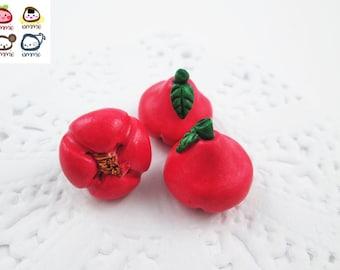 Miniature Rose Apple, rose apples, Ceramic Vegetables, ceramic fruits, food figurine, miniature food, mini vegetables, dollhouse, tiny, red