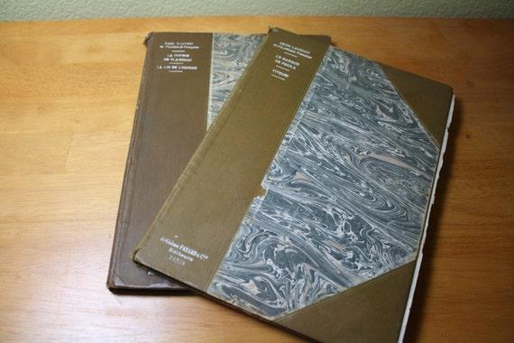 Pair of Antique French Books, Two Plays Each: Le Marquis de Priola and Viveurs, La Course de Flambeau and La Loi de L'Homme, 1901 and 1902