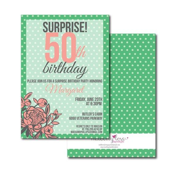 30th 40th 50th Birthday Party Invitation Adult Woman