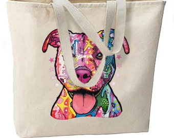 Neon Pit Bull Dog New Large Tote Bag Travel Events Gifts Shop