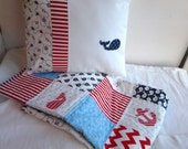 Nautical Baby Quilt and Matching Pillow, Nautical Nursery Bedding, Sailing Baby Quilt and Pillow, Whale Quilt and Pillow