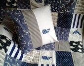 Nautical Baby Quilt and Matching Pillow, Nautical Nursery Bedding, Anchor Baby Quilt and Pillow, Whale Quilt and Pillow