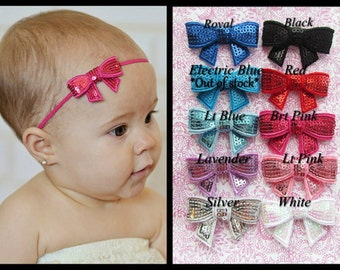 You Pick 3- Baby Headband, Infant Headband, Toddler Headband, Sequin Bow Headband on skinny elastic