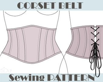 CORSET PATTERN Underbust Belt. S, M and L size. Instant download pdf sewing pattern.