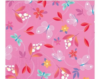 Clothworks Blossom Bliss Small Floral on Pink Yardage - REDUCED