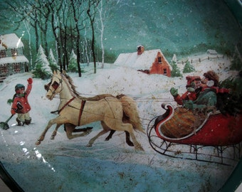 Coming Home. Christmas Eve sledge ride, vintage tin plate, pine tree on horse sleigh. Winter picture. Aqua cyan tinplate bowl, 2016 new year