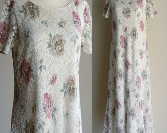 SALE: Vintage 90s Ivory Lace Boho Maxi Dress - Cream Sheer Floral Lace Long Soft Grunge Dress - Casual Wedding Dress - Size Medium / Large