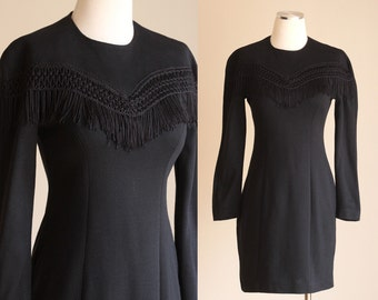 SALE: Vintage 90s Mini Dress - Short Sexy Bodycon Fringe Dress - Little Black Dress - Long Sleeve Tight Rocker Chic Club Dress - Size Small