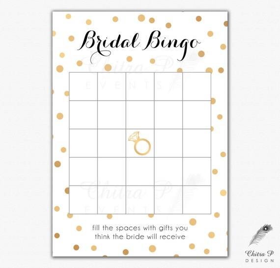 Black & Gold Bridal Shower Bingo Cards - Printed or Printable, Instant ...