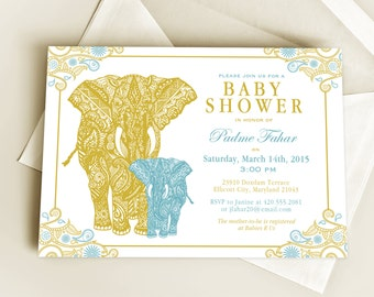Henna Elephant Baby Shower Invitation Design or New Baby Announcement, Indian Inspired Gold and Peacock Invite with Mehndi Elephants