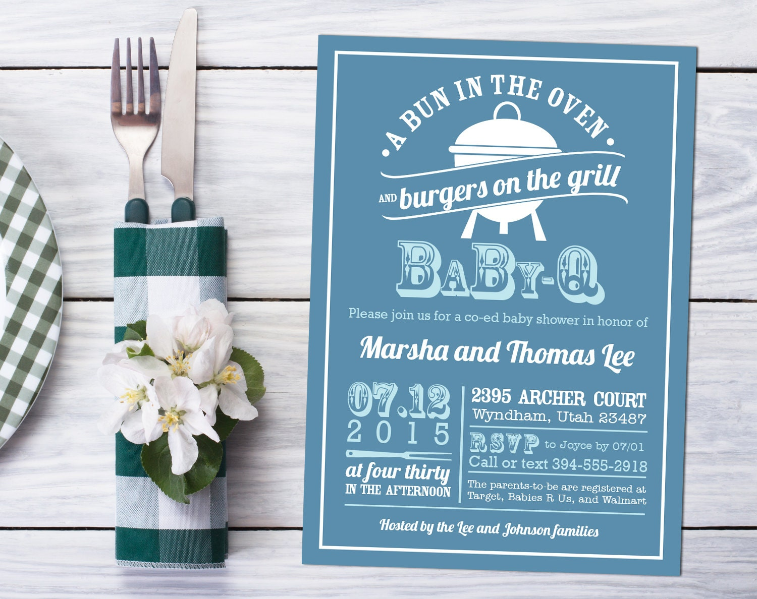 bbq baby shower invitation design bun in the oven